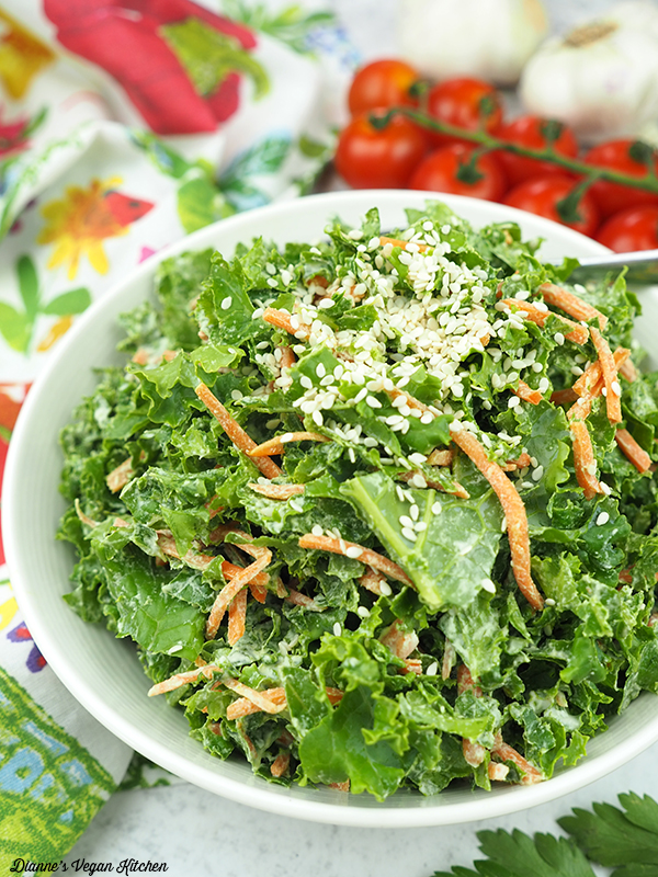 raw kale slaw close up