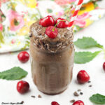Chocolate Cherry Smoothie in mason jar with straw square