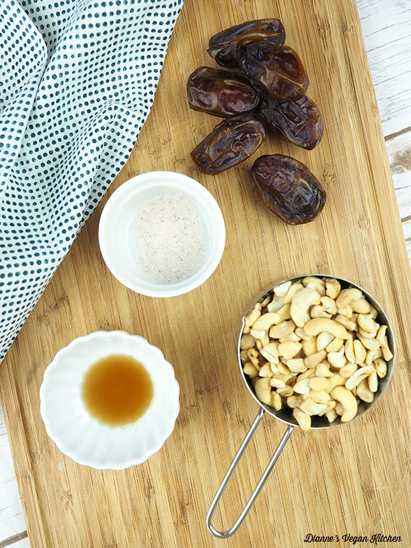 dates, salt, vanilla, and cashews