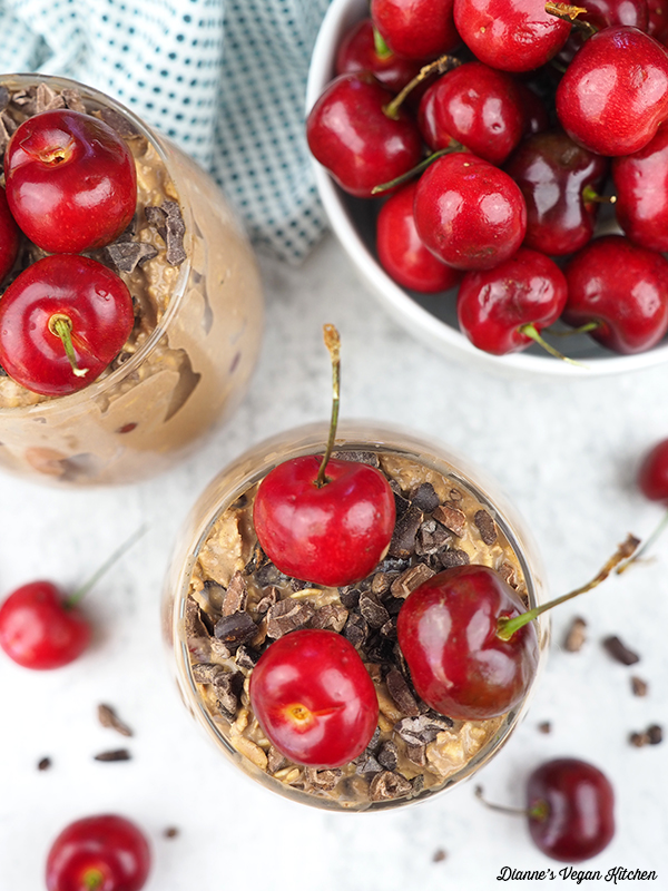 Cherry Chocolate Overnight Oats overhead