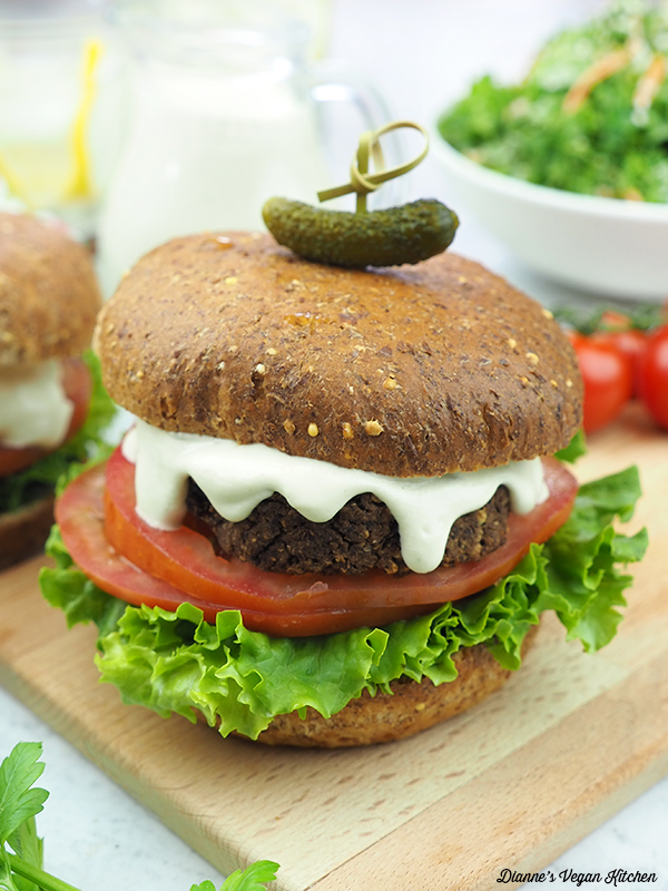 black bean burger on cutting board