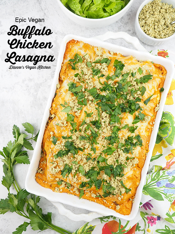 Buffalo Chicken Lasagna from Epic Vegan with text overlay