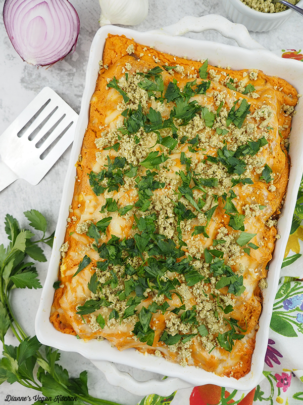 Buffalo Chicken Lasagna in baking dish