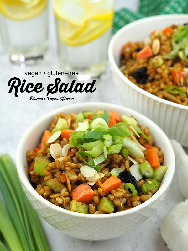 bowls of brown rice salad with text overlay