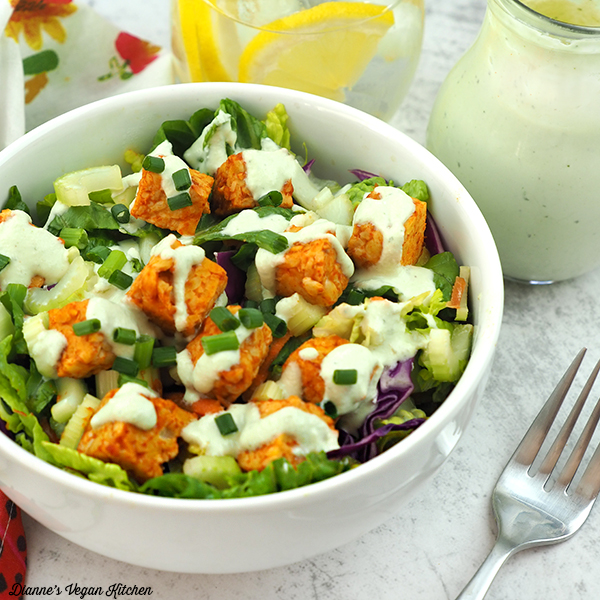 Buffalo Tempeh Salad with Cashew Ranch Dressing square