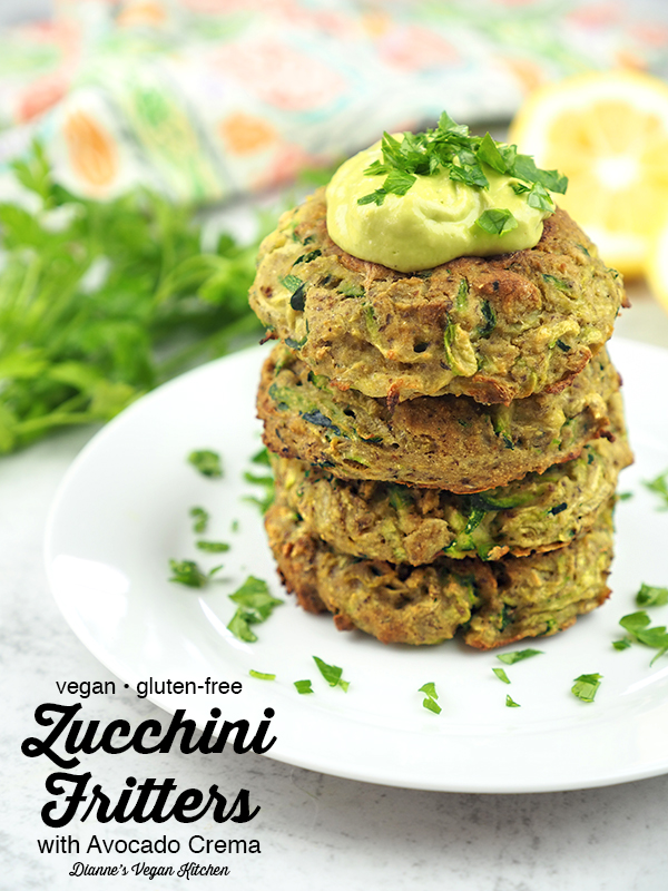 Stack of Crispy Zucchini Fritters from Vegan Comfort Cooking with text overlay