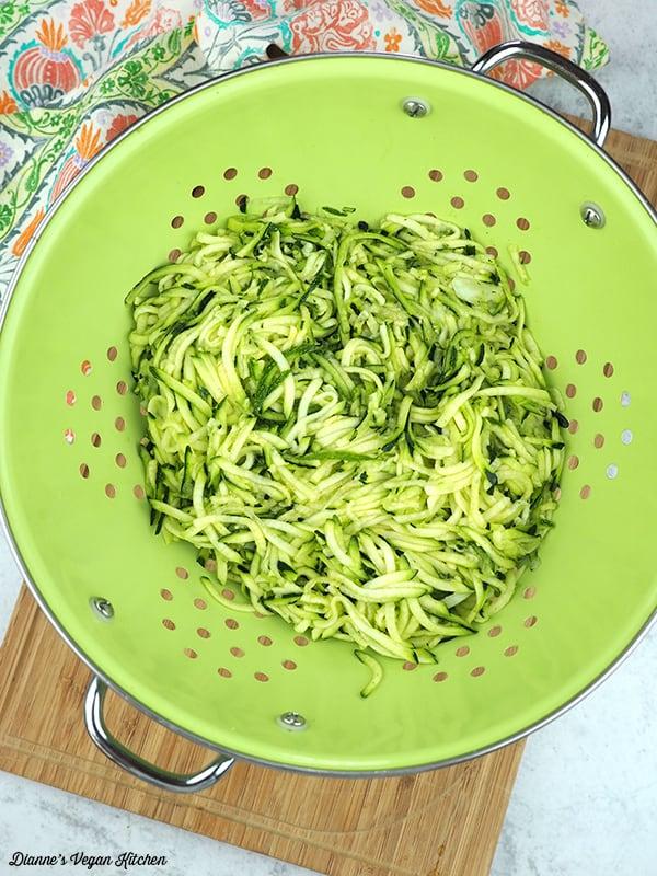 zucchini in colander
