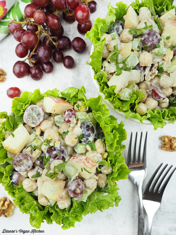 two bowls of Vegan Chickpea Waldorf Salad from overhead