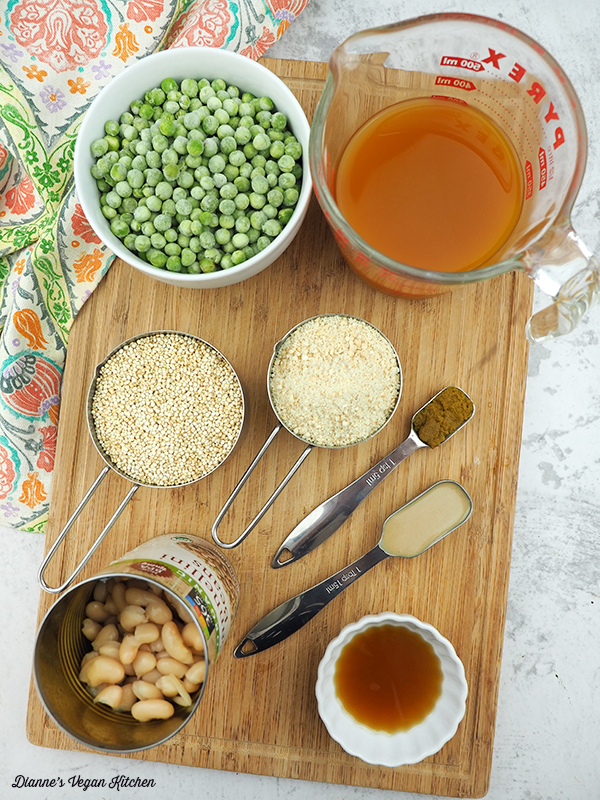 peas, stock, spices, beans, and quinoa