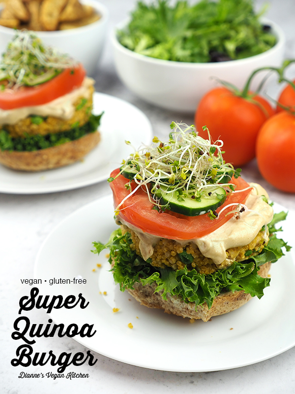 Super Quinoa Burgers from The Best Veggie Burgers on the Planet with text overlay