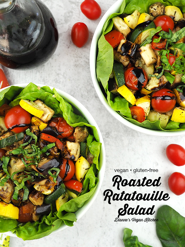Roasted Ratatouille Salad from above with text overlay