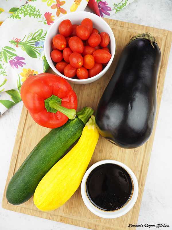 tomatoes, eggplant, red pepper, zucchini, squash