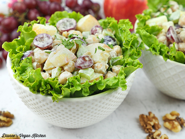 small bowls of Vegan Chickpea Waldorf Salad horizontal