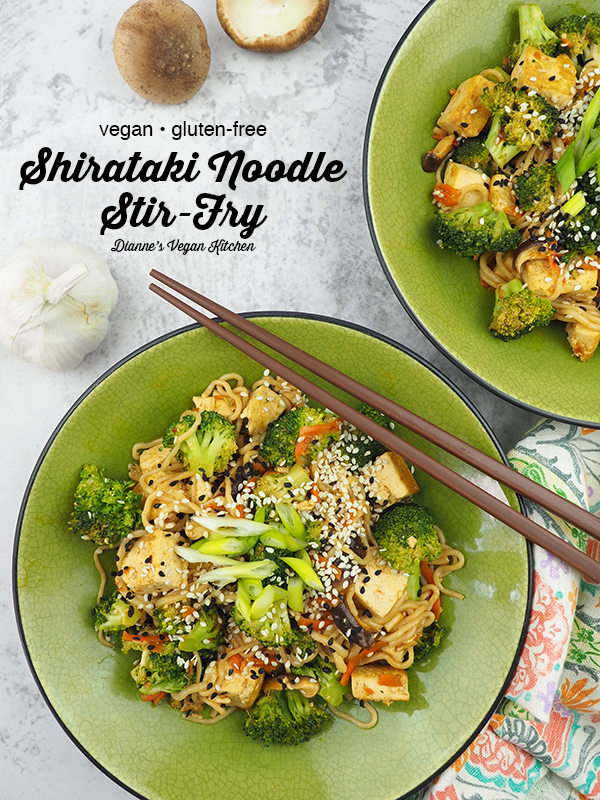 Tofu and Shirataki Noodle Stir-Fry from above with text overlay