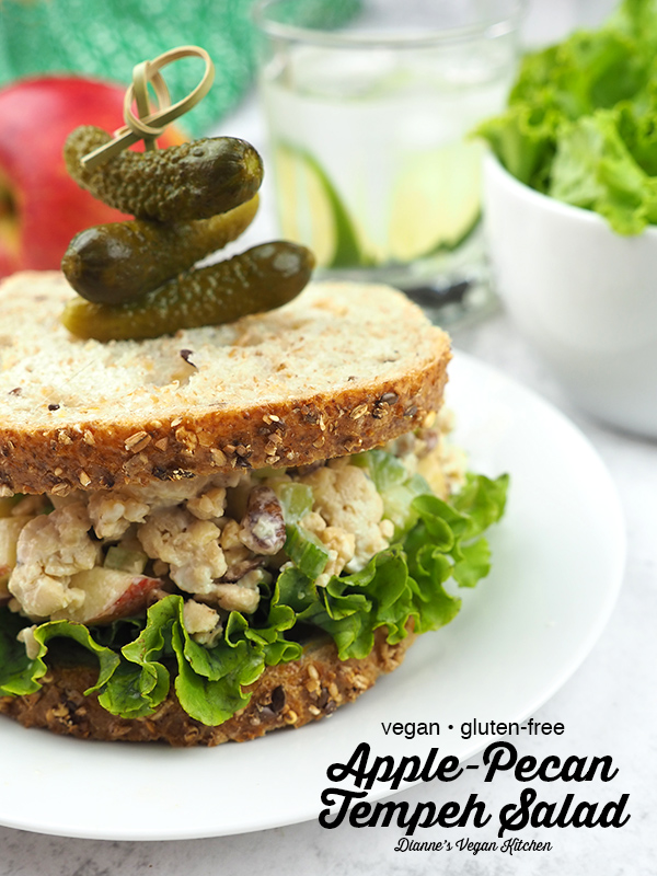 Apple-Pecan Tempeh Salad sandwich with text overlay