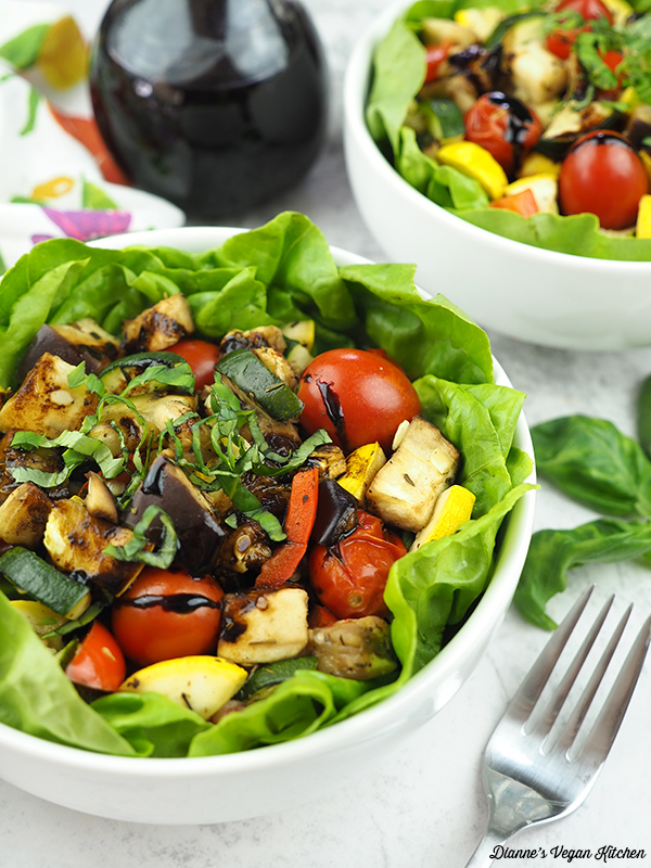two bowls of Roasted Ratatouille Salad