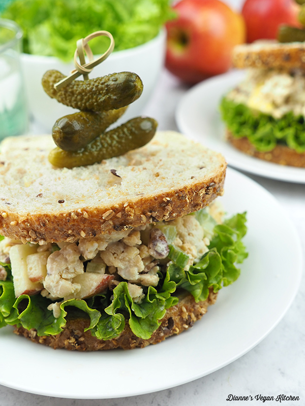 two Apple-Pecan Tempeh Salad sandwiches