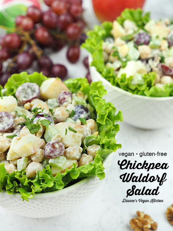 Vegan Chickpea Waldorf Salad in two bowls with text overlay