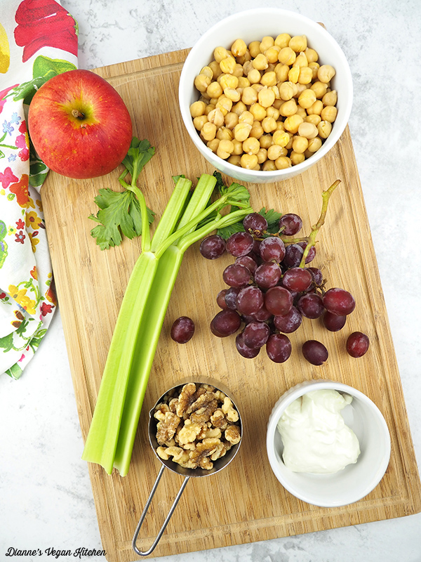 apple, chickpeas, celery, grapes, walnuts, mayo