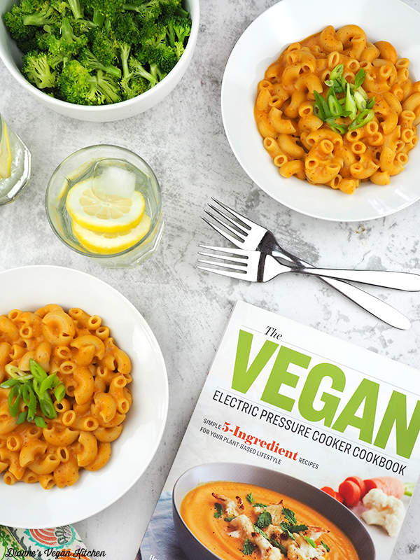 Bowls of Cheesy Macaroni with The Vegan Electric Pressure Cooker Cookbook