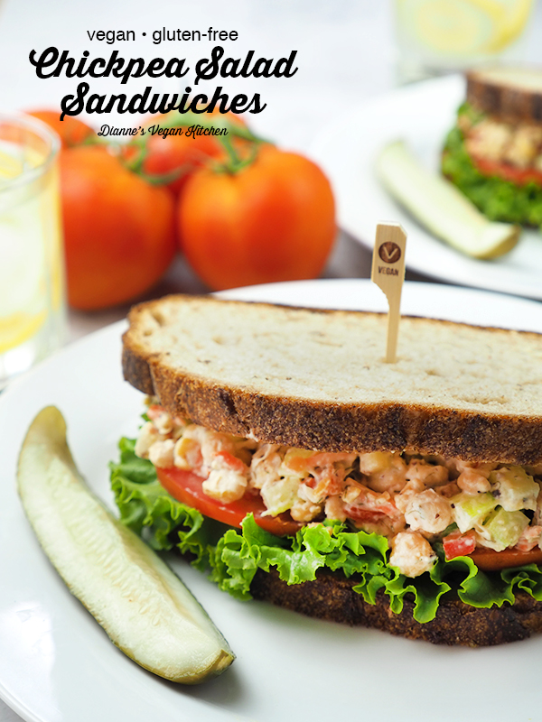 Chickpea Salad Sandwiches on plates with text overlay