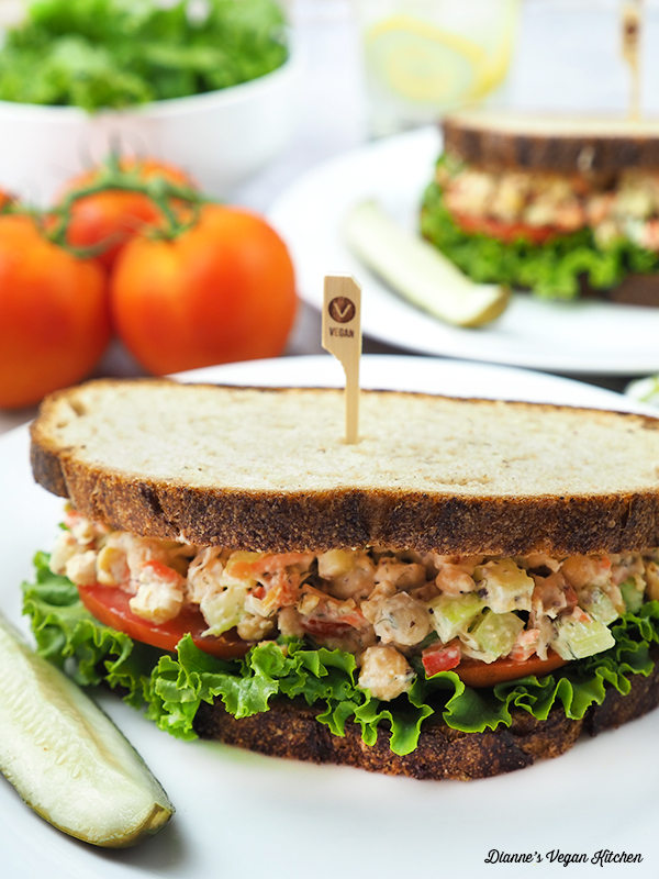 Chickpea Salad Sandwiches sandwiches on plates vertical