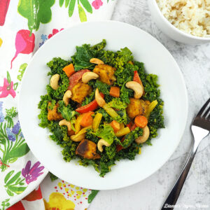 Cashew Tempeh Stir-Fry in bowl from above square