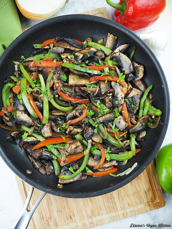 cooked mushrooms and peppers
