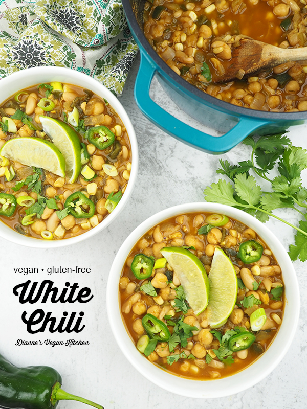 bowls of white bean chili with the pot with text overlay