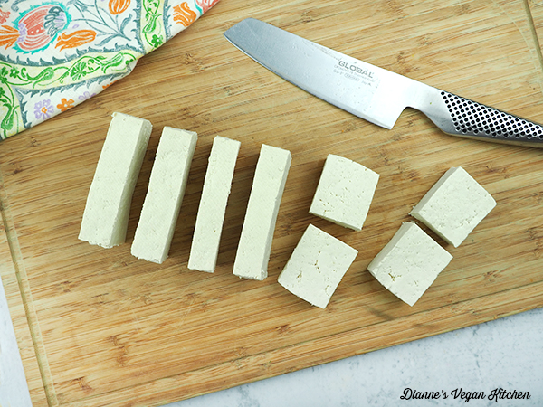 cutting tofu into squares