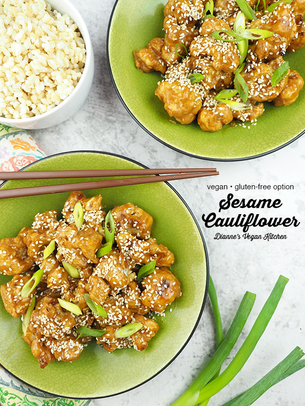 Sesame Cauliflower overhead with text overlay