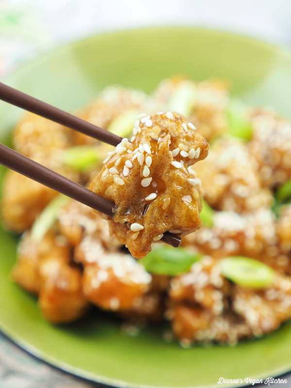 Sesame Cauliflower on chopsticks