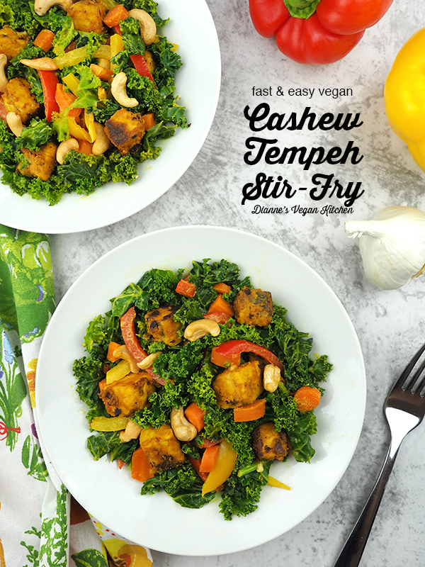 Vegan Cashew Tempeh Stir-Fry in bowls with text overlay