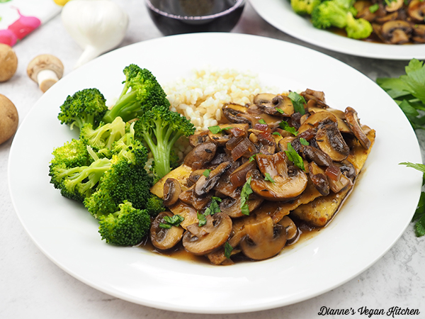 Tempeh Marsala with broccoli and rice horizontal
