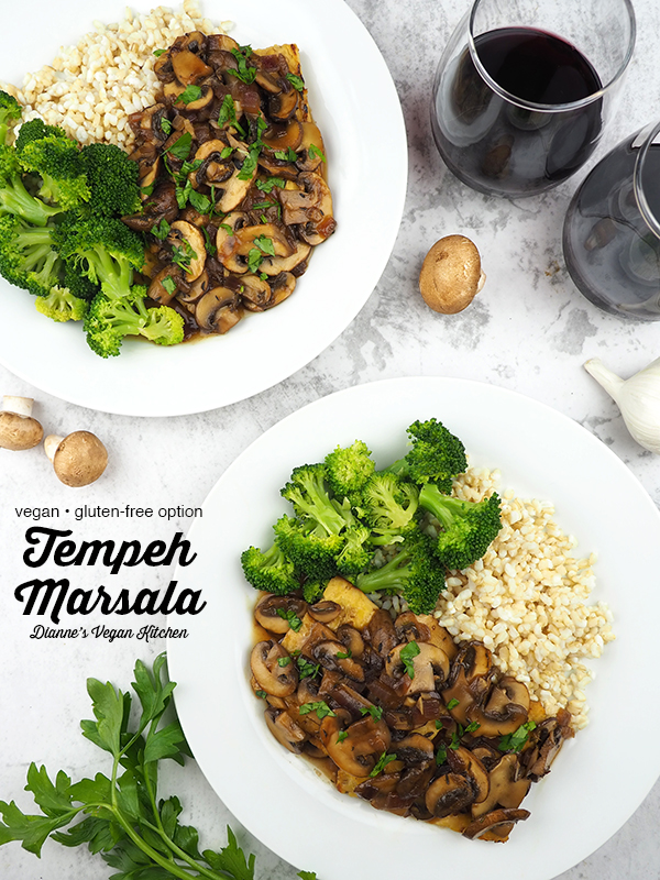 Tempeh Marsala from above with text overlay