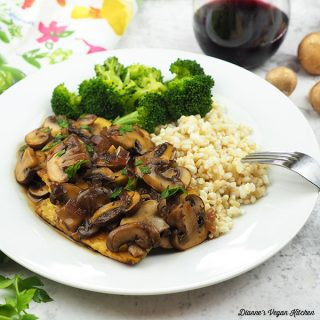 Tempeh Marsala on plate with rice and broccoli