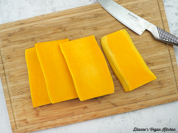 slicing squash into slabs