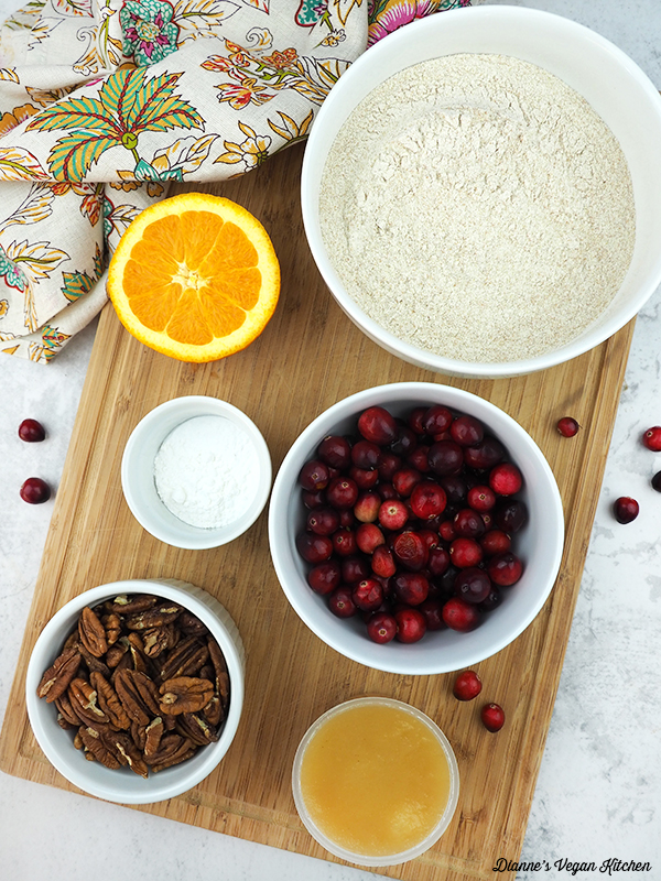 flour, cranberries, oranges, nuts,