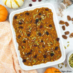 Baked Pumpkin Oatmeal in casserole dish from above