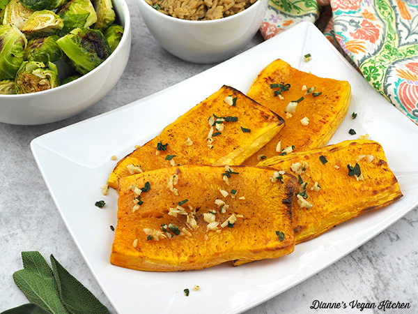 platter with butternut squash steaks horizontal