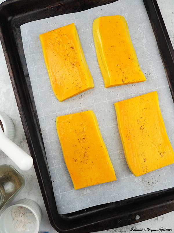 squash on baking sheet