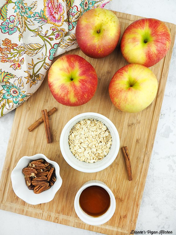 apples, oatmeal, pecans, maple syrup