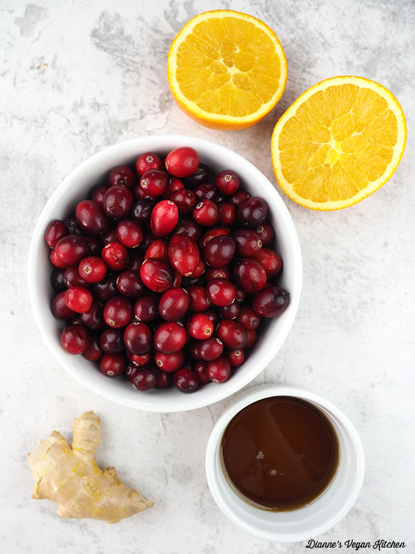 cranberries, oranges, ginger, maple syrup