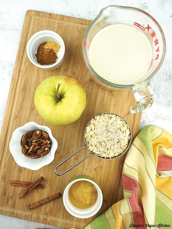 nondairy milk, rolled oats apple, cinnamon, pecans