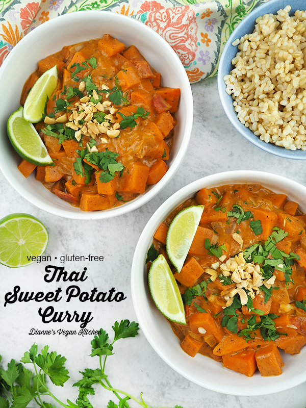 Vegan Thai Sweet Potato Curry from above with text overlay