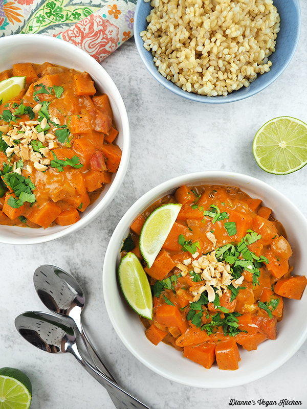 bowls of Thai sweet potato curry from above