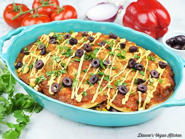 Vegan Mexican Lasagna in pan horizontal