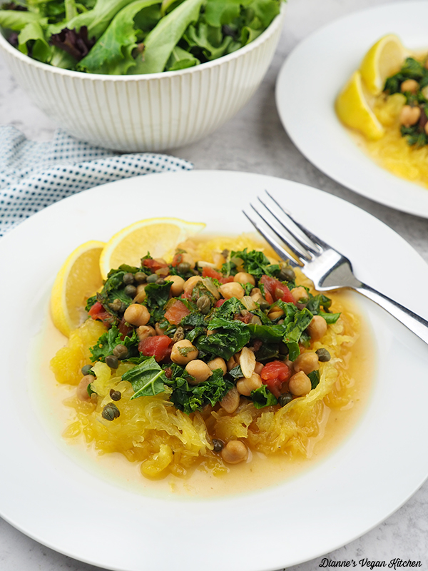 plate of Spaghetti Squash in Lemon Caper Sauce