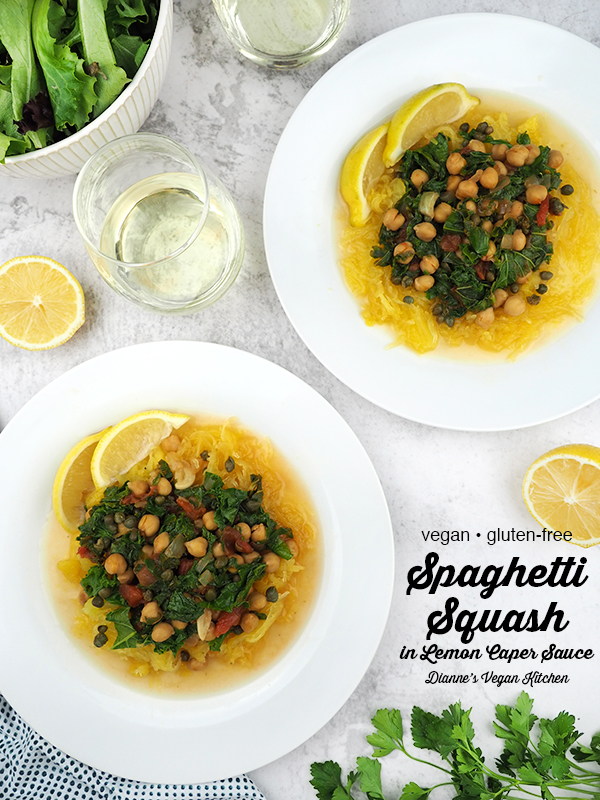 Spaghetti Squash in Lemon Caper Sauce with text from above