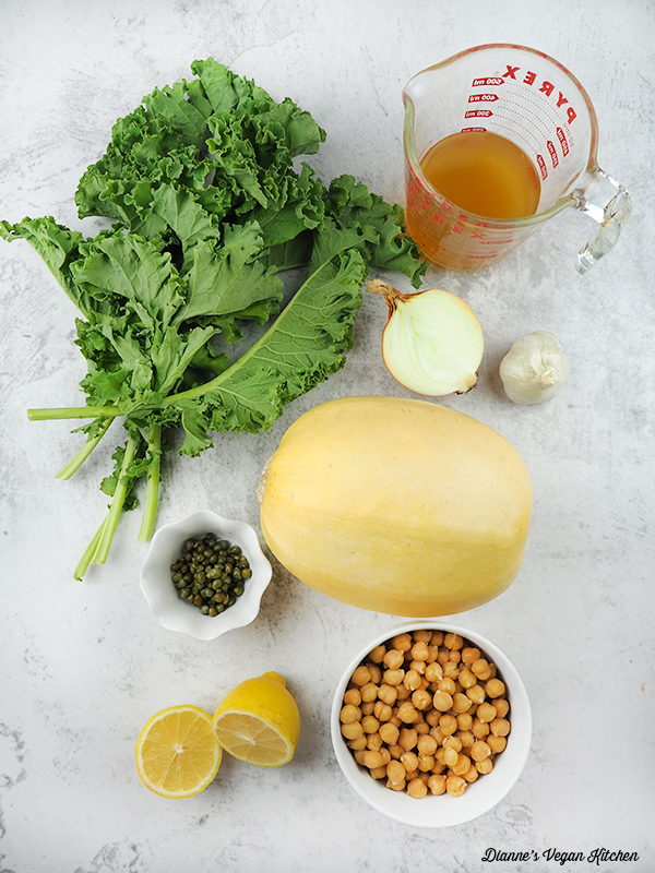 kale, squash, chickpeas, capers, lemon